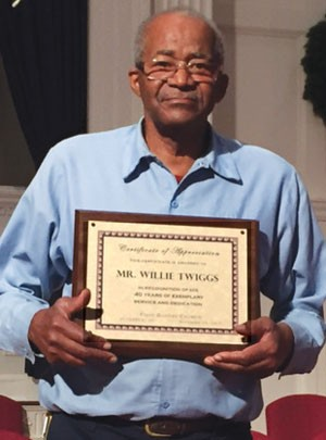 First Baptist honors Willie Twiggs for service
