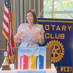 Belle Ziegler, executive director of the Eastern Carolina Community Foundation, speaks to the Florence West Rotary Club.