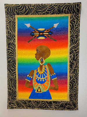 A tapestry entitled 'Inner Strength (Warrior Woman),' by Renee Fleuranges-Vades