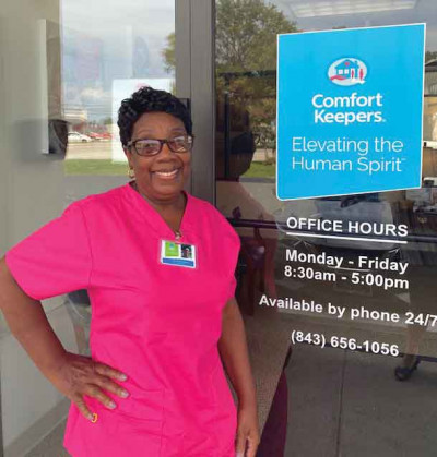 """We are proud of Hazel,"""" said Florence Comfort Keepers owner David Coker of Hazel Bradshaw, shown above, who was recently named the Kristina Butler Comfort Keeper of the Year."""