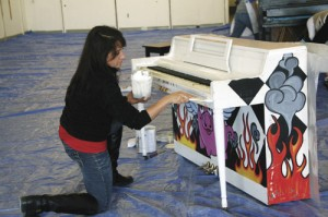 Pianos being painted for Play Me I'm Yours