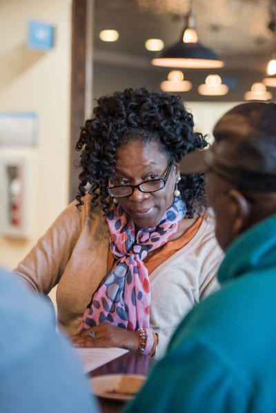 Sonda Jett-Clair reviews nutrition information with a participant during a nutrition class at HopeHealth. A chronic disease prevention coordinator at the HopeHealth Medical Plaza in Florence, Jett-Clair was recently recognized by the South Carolina Public