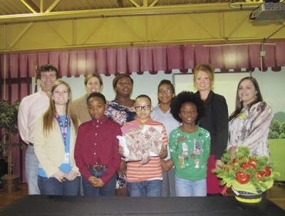 Savannah Grove Beta Club presents cards to McLeod
