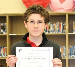 Student named National Geographic GeoBee SC State Competition semifinalist by National Geographic Society