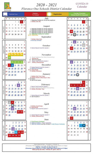 Florence One Schools Calendar for 2020-21 year approved